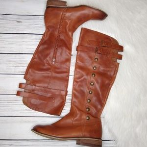 NORDSTROM BP BROWN BUTTON PENNY RIDING BOOTS 9.5